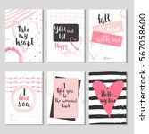 set of 6 valentines day gift... | Shutterstock .eps vector #567058600