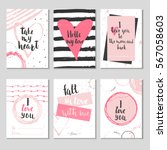 set of 6 valentines day gift... | Shutterstock .eps vector #567058603
