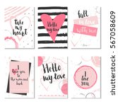 set of 6 valentines day gift... | Shutterstock .eps vector #567058609