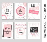 set of 6 valentines day gift... | Shutterstock .eps vector #567058618