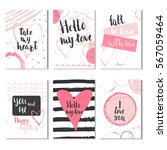 set of 6 valentines day gift... | Shutterstock .eps vector #567059464