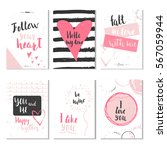 set of 6 valentines day gift... | Shutterstock .eps vector #567059944