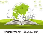 environmentally friendly world. ... | Shutterstock .eps vector #567062104