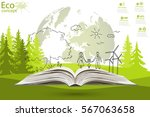 open book of happy family... | Shutterstock .eps vector #567063658