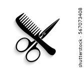 comb and scissors icon   black... | Shutterstock .eps vector #567073408