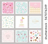 cute card templates set for... | Shutterstock .eps vector #567076249