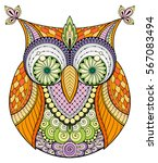 birds theme. owl black and... | Shutterstock .eps vector #567083494