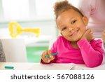 future artist. beautiful little ... | Shutterstock . vector #567088126