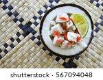 flat lay view of fijian food ... | Shutterstock . vector #567094048