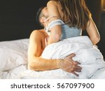 Stock photo beautiful passionate young couple having sex on the bed at home intimate and sensual moments of a 567097900