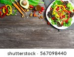 salad with fresh vegetables ... | Shutterstock . vector #567098440