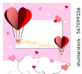 heart balloon and snow of happy ... | Shutterstock .eps vector #567099106