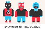 funny monster set  vector... | Shutterstock .eps vector #567102028