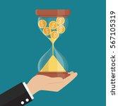 money in sandglass. recession... | Shutterstock .eps vector #567105319