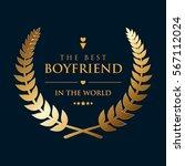 golden wreath badge  ... | Shutterstock .eps vector #567112024