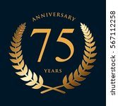 golden wreath badge   75 years... | Shutterstock .eps vector #567112258