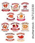 meat of chicken and pork ham ... | Shutterstock .eps vector #567113230