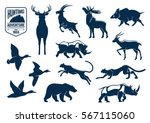 Stock vector animals silhouette icons deer mountain goat reindeer with antler wild boar rhino or rhinoceros 567115060