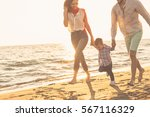 happy young family have fun on... | Shutterstock . vector #567116329