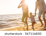 happy young family have fun on... | Shutterstock . vector #567116830