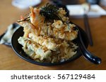 tempura don or ten don japanese ... | Shutterstock . vector #567129484