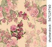 watercolor spring flowers... | Shutterstock . vector #567129760