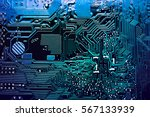 blue circuit board  top view | Shutterstock . vector #567133939