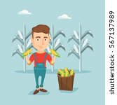 young caucasian farmer holding... | Shutterstock .eps vector #567137989