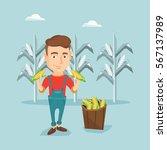 young caucasian farmer holding... | Shutterstock .eps vector #567137989