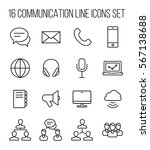 set of communication icons in...
