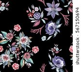 floral seamless pattern with... | Shutterstock . vector #567150694