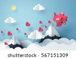 Paper art of pink plane flying and scatter heart in the sky, origami and valentine