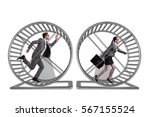 Stock photo business concept with pair running on hamster wheel 567155524