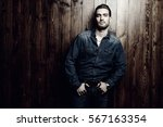 jeans style. portrait of a...   Shutterstock . vector #567163354