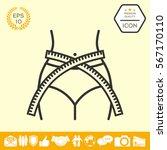 women waist with measuring tape ... | Shutterstock .eps vector #567170110