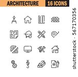 architecture flat icon set....