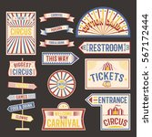 circus vintage label banner... | Shutterstock .eps vector #567172444