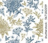 Floral Seamless Pattern. Linear ...