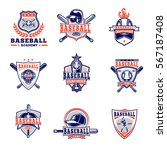vector set of colored baseball... | Shutterstock .eps vector #567187408