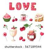 vector set festive food  sweet... | Shutterstock .eps vector #567189544