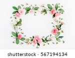 round frame made of pink and... | Shutterstock . vector #567194134