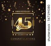45th anniversary golden... | Shutterstock .eps vector #567194380
