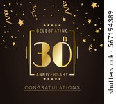 30th anniversary golden... | Shutterstock .eps vector #567194389