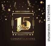 15th anniversary golden...   Shutterstock .eps vector #567194536