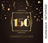 150th anniversary golden... | Shutterstock .eps vector #567194560