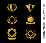 set of gold shield logo icon... | Shutterstock .eps vector #567194770