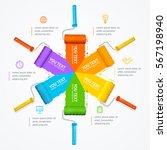 roller brush infographic menu... | Shutterstock .eps vector #567198940