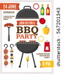 barbecue and grill party poster ... | Shutterstock .eps vector #567201343