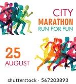 running marathon  people run ... | Shutterstock .eps vector #567203893