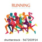 running marathon  people run ... | Shutterstock .eps vector #567203914
